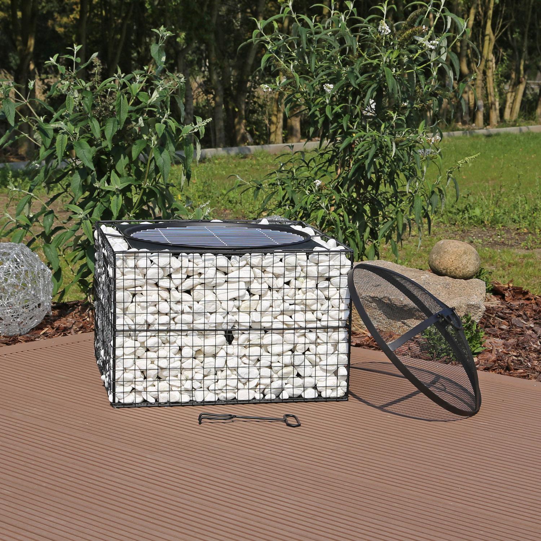 gabionen feuerschale mit grillrost gabionengrill feuerstelle garten grillschale ebay. Black Bedroom Furniture Sets. Home Design Ideas